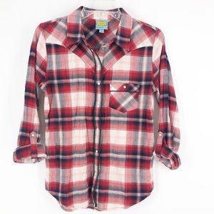 C & C California Red Checked Snap Front Shirt